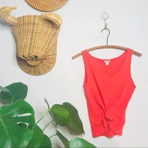Vtg Retro 90s Halogen Orange Ribbed Crop Tank